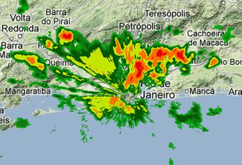 Radar meteorológico mostra grande volume de chuvas sobre o grande Rio.