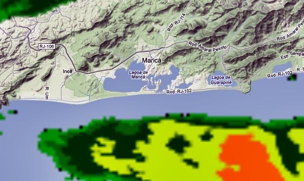Chuva segue para o Oceano Atlântico. (Imagem: Radar Meteorológico)