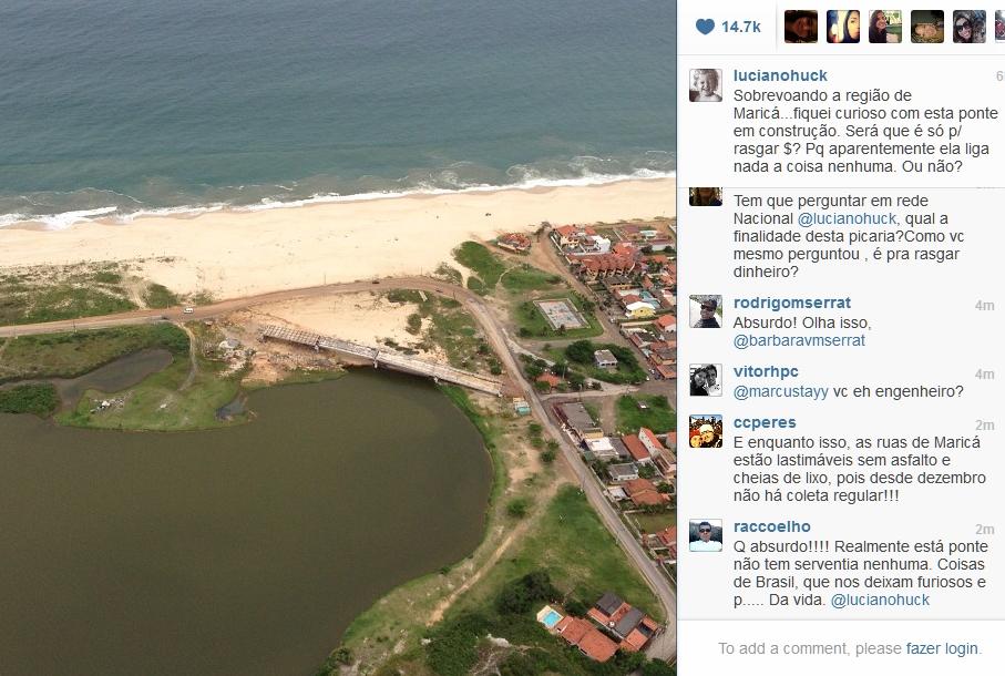 Em Maricá, Luciano Huck questiona construção da ponte da Barra