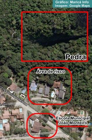 Imagem de satélite mostra a proximidade da escola com a área de risco. (Foto: Google Maps)