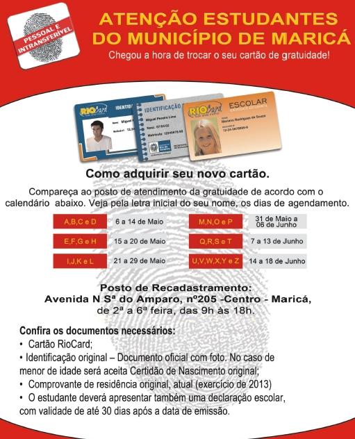 Recadastramento do Rio Card é OBRIGATÓRIO para estudantes da Rede Pública de ensino.