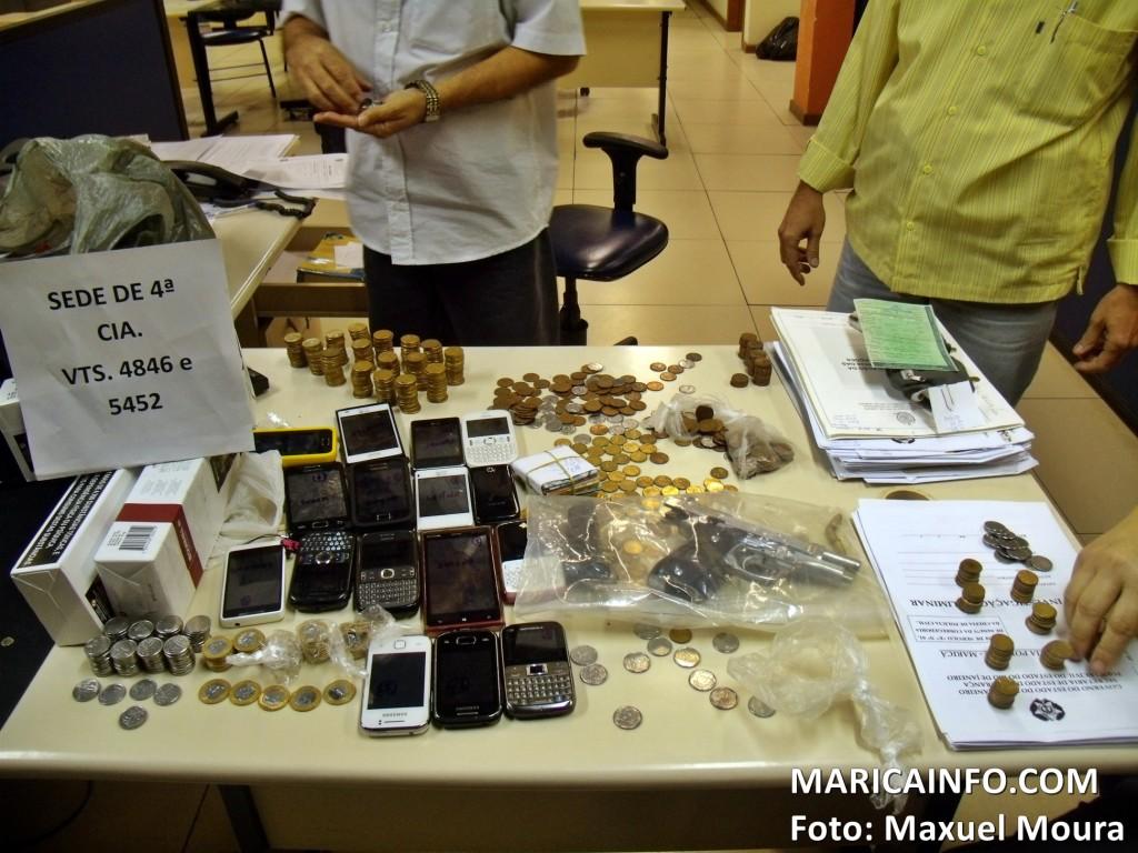 Fruto do roubo foi apreendido pela Polícia Militar. (Foto: Maxuel Moura | Maricá Info)
