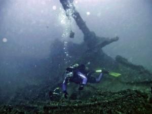 Destroços do navio moreno, naufragado em 1874 nas Ilhas Maricás.