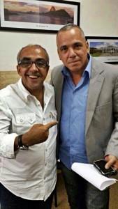 Robson Giorno com o presidente estadual da legenda, Tunico de Souza.