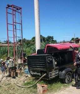 Material utilizado na perfuração foi inspecionado pela Polícia Militar.