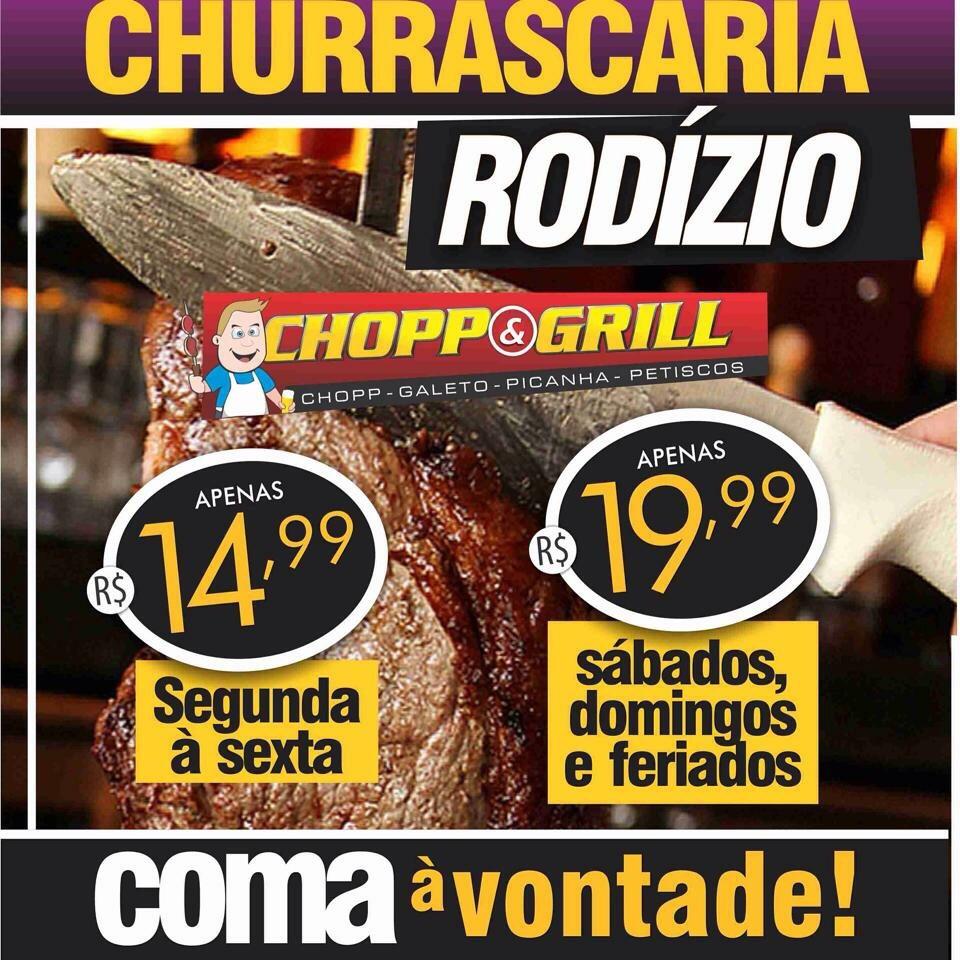 Chopp & Grill com rodízio de churrasco.