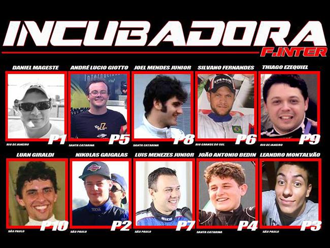 Pilotos selecionados para participar da Fórmula Inter.