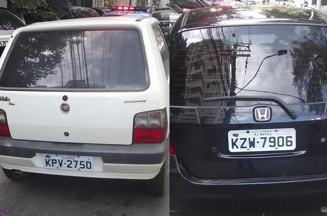 Carros recuperados após rápida ação da PM. (fotos: Divulgação)