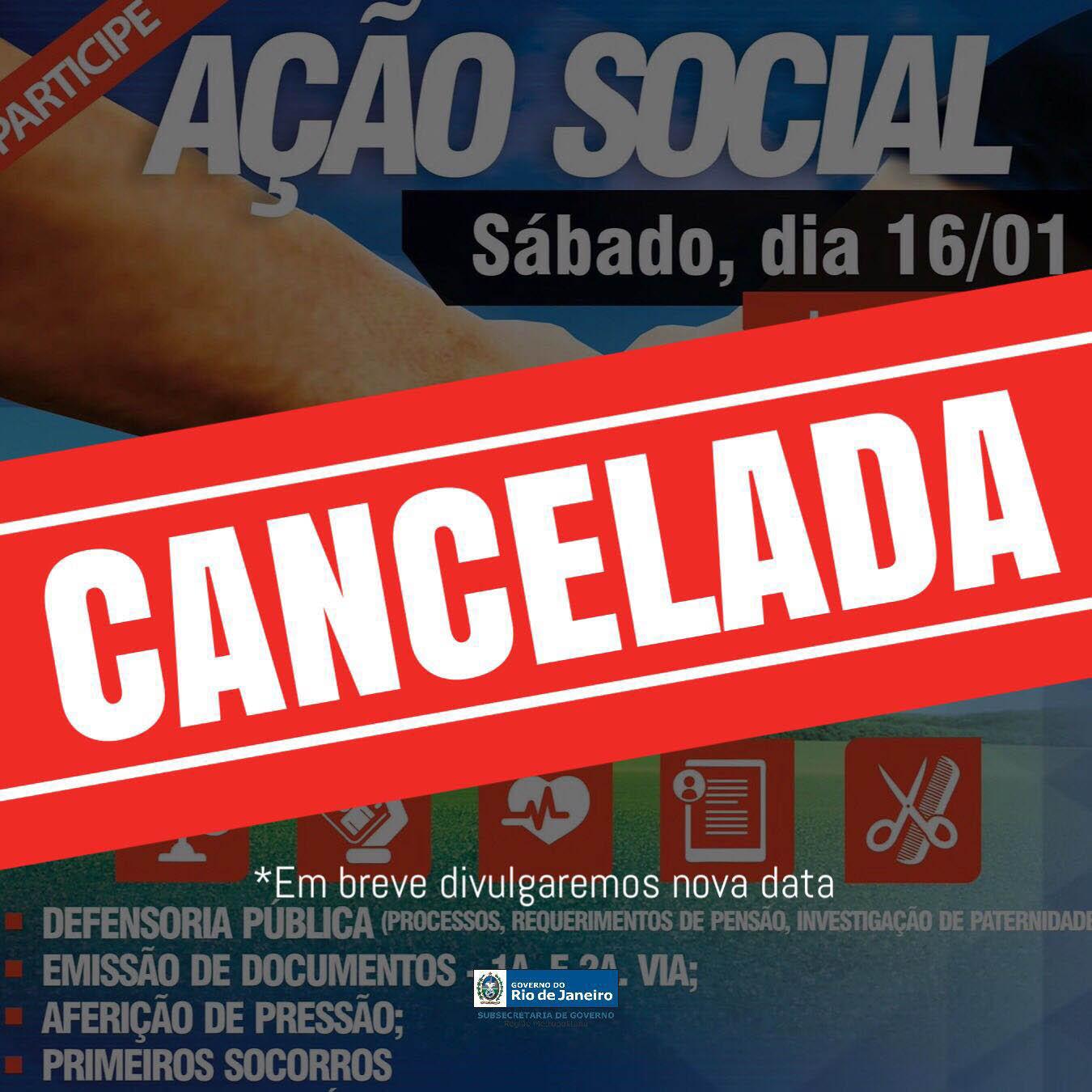 Maricá: Ação social é cancelada devido ao mau tempo