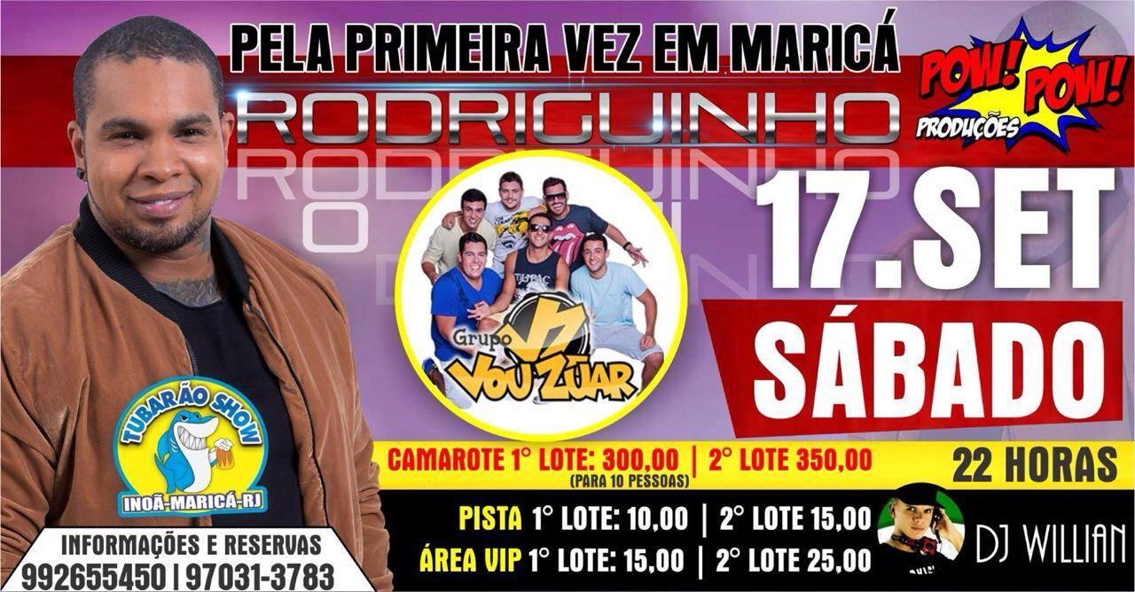 Maricá terá show de 'Rodriguinho' dia 17 de setembro, concorra a um camarote