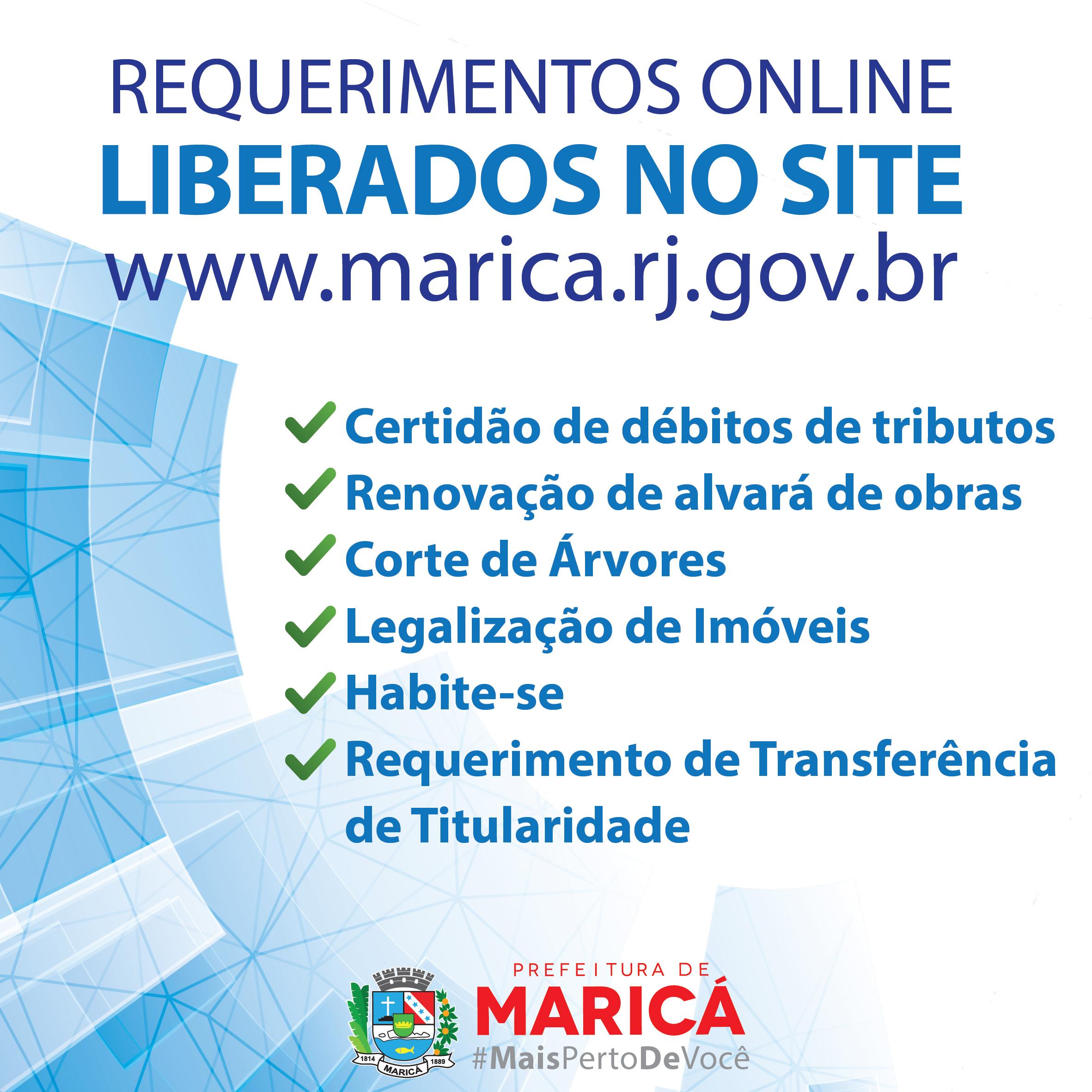 Maricá: Requerimentos para serviços disponíveis no site da prefeitura