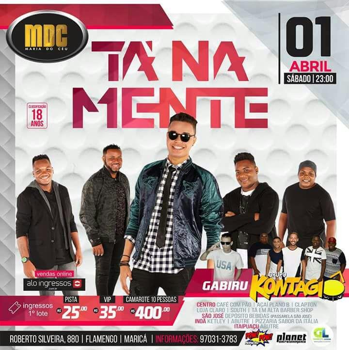 Maricá: Grupo 'Tá na Mente' faz show no dia 1º de abril, concorra a ingressos
